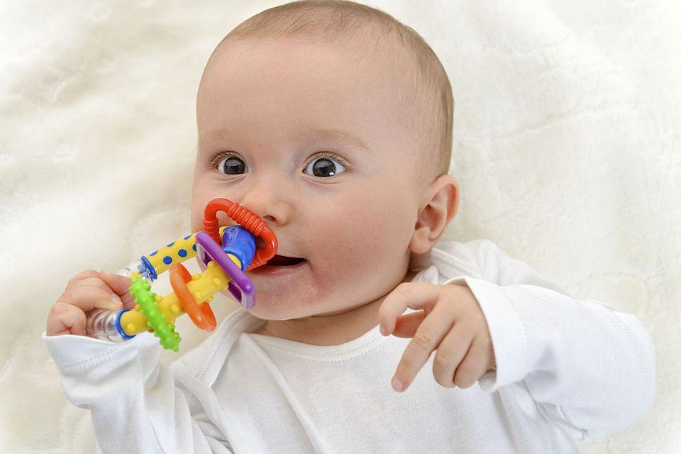 Babys testen nicht nur, wie ein Greifling klingt und ausschaut, sondern auch, wie er schmeckt... Foto: djd/windeltorte-exclusive.de/thx